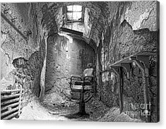Barber - Chair - Eastern State Penitentiary - Black And White Acrylic Print by Paul Ward