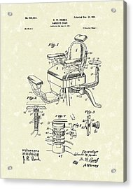 Barber's Chair 1901 Patent Art Acrylic Print by Prior Art Design