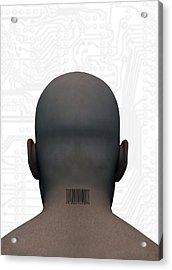 Barcoded Man, Artwork Acrylic Print by Victor Habbick Visions