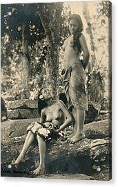 Bare-breasted Marquesas Islands Girls Acrylic Print by J.W. Church