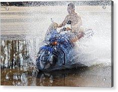 Bare Chest Rider Splash Acrylic Print by Kantilal Patel