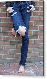 Barefeet And Blue Jeans Acrylic Print by Rebecca Powers