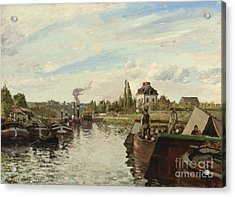Barge On The Seine At Bougival Acrylic Print by Camille Pissarro