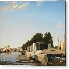 Barges At A Mooring Acrylic Print by Unknown