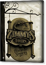 Acrylic Print featuring the photograph Barhopping At Zimmys 2 by Lee Craig