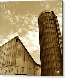 Barn And Silo In Sepia Acrylic Print