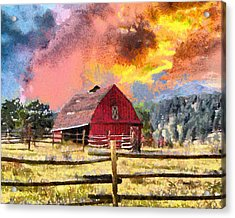 Barn And Sky Acrylic Print by Anthony Caruso