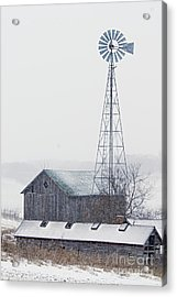 Barn And Windmill In Snow Acrylic Print by Larry Ricker