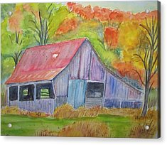 Barn At Round Bottom Acrylic Print by Belinda Lawson