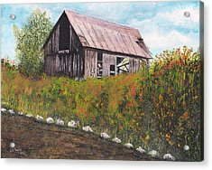Acrylic Print featuring the painting barn Grahamsville NY by Stuart B Yaeger