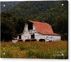 Acrylic Print featuring the photograph Barn In Mountains by Lydia Holly