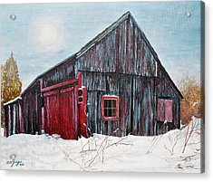 Barn In Snow Southbury Ct Acrylic Print