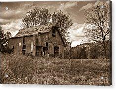 Barn In Turbulent Sky Acrylic Print