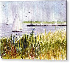 Acrylic Print featuring the painting Barnegat Sails by Clara Sue Beym