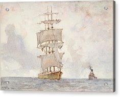 Barque And Tug Acrylic Print by Henry Scott Tuke