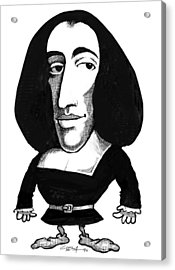 Baruch Spinoza, Caricature Acrylic Print by Gary Brown