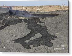 Basaltic Lava Flow From Pit Crater Acrylic Print by Richard Roscoe