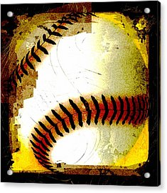 Baseball Abstract Acrylic Print by David G Paul
