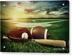 Baseball  Bat  And Mitt In Field At Sunset Acrylic Print by Sandra Cunningham