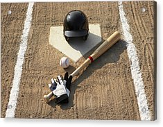 Baseball, Bat, Batting Gloves And Baseball Helmet At Home Plate Acrylic Print by Thomas Northcut