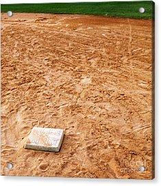 Baseball Field Base Acrylic Print by Skip Nall