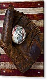 Baseball Mitt With Earth Baseball Acrylic Print by Garry Gay