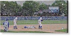 Baseball Playing Hard Digital Art Acrylic Print by Thomas Woolworth