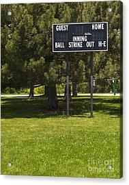 Baseball Scoreboard Acrylic Print by Thom Gourley/Flatbread Images, LLC