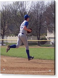 Baseball Step And Throw From Third Base Acrylic Print by Thomas Woolworth