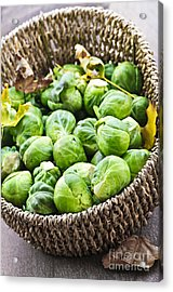 Basket Of Brussels Sprouts Acrylic Print by Elena Elisseeva