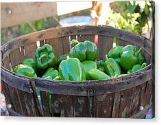Acrylic Print featuring the photograph Basket Of Green Peppers by Mary McAvoy