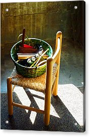 Basket Of Toy Instruments Acrylic Print by Susan Savad