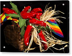 Basket Red Peppers Acrylic Print by Trudy Wilkerson