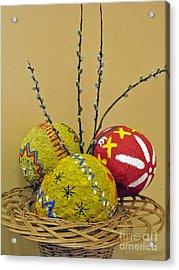 Basket With Papier-mache Eggs Acrylic Print