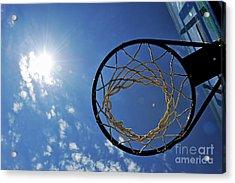 Basketball Hoop And The Sun Acrylic Print by Sami Sarkis