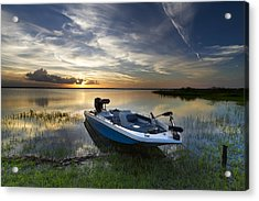 Bass Fishin' Evening Acrylic Print by Debra and Dave Vanderlaan
