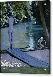 Bather About To Plunge Into The River Yerres Acrylic Print by Gustave Caillebotte
