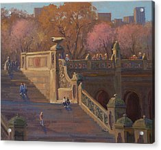 Bathesda Stairway Central Park Acrylic Print by Marianne Kuhn