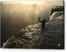 Bathing In A Swimming Hole At The Top Acrylic Print by Annie Griffiths