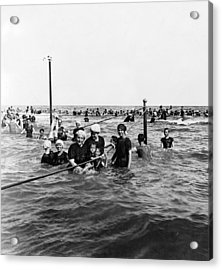 Bathing In The Gulf Of Mexico - Galveston Texas  C 1914 Acrylic Print