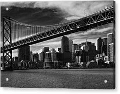Bay Bridge And San Francisco Downtown Acrylic Print by Laszlo Rekasi