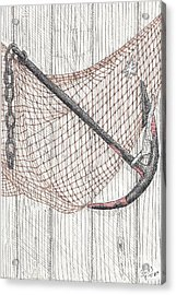 Beach Anchor And Net. Acrylic Print by Calvert Koerber