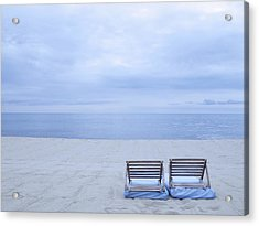 Beach And Chairs In St Tropez, French Riveira Acrylic Print by Ballyscanlon