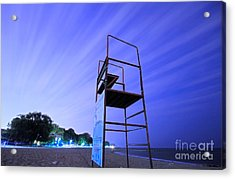 Beach At Night Acrylic Print by Charline Xia