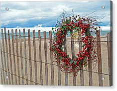 Beach Berry Wreath Acrylic Print by Maria Dryfhout