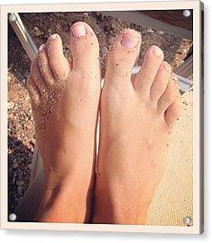 Beach Feet! 👣#feet #pink #beach Acrylic Print