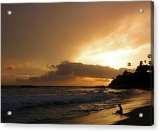 Beach Girl Sunset Acrylic Print by Ed Golden