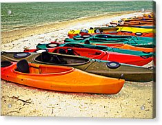 Beach Kayaks Acrylic Print