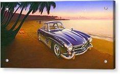 Beach Mercedes Acrylic Print by Andrew Farley