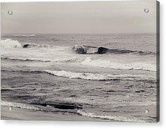 Beach On A Rainy Day Acrylic Print by Ezequiel Rodriguez Baudo